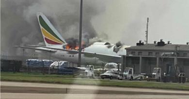 Ethiopia Plane Catches Fire
