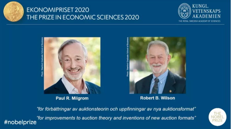 Nobel Prize in economics awarded to Paul Milgrom and Robert Wilson for auction theory